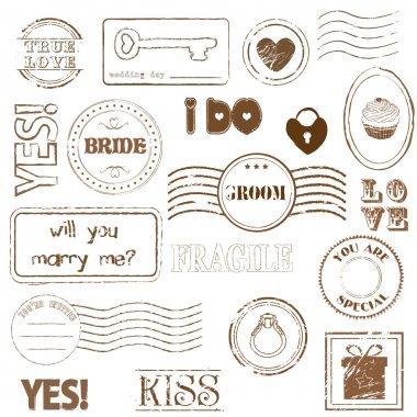 Set Of Wedding Postage Stamps