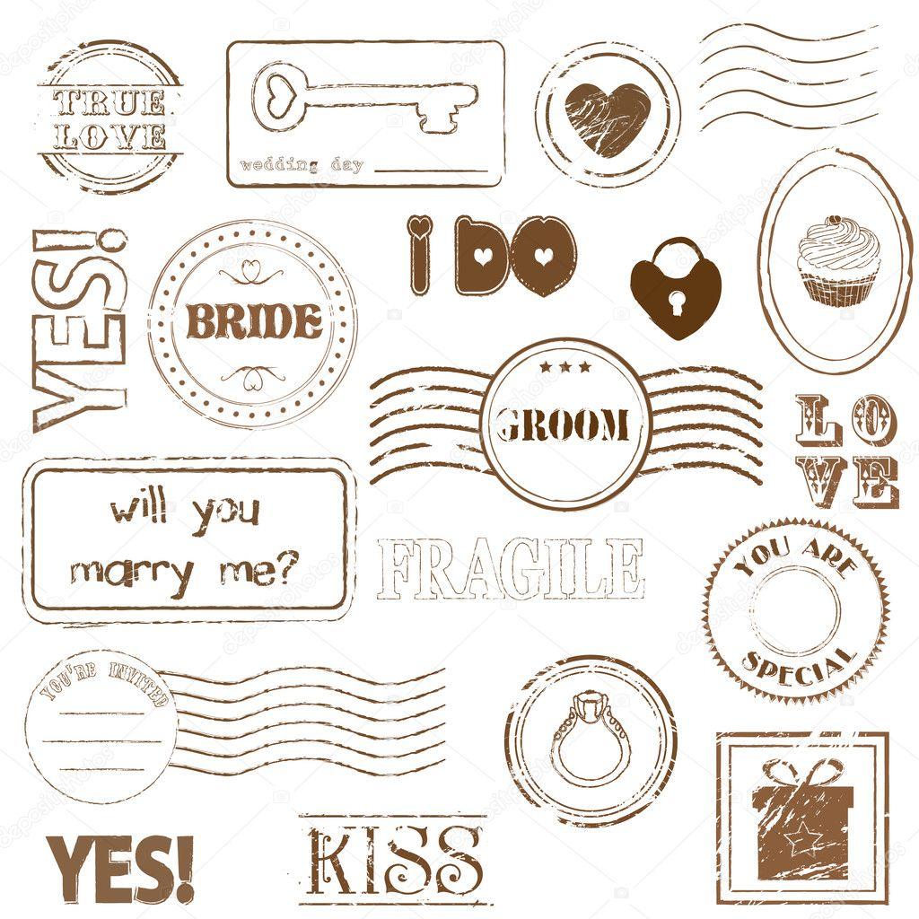 邮戳 印章; 浪漫爱情印章矢量素材2; 印章矢量图_广告设计矢量素材
