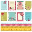 Design elements for baby scrapbook - cute tags with buttons - Stock Vector