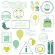 Birthday Vector Stamp Set IN COLOR - for design and scrapbooking — Stock Vector