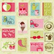 Vector summer stamps - set of beautiful summer-related rubber st — Stock Vector
