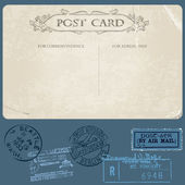 Antique postcards in vector with set of Postal stamps — Stock Vector
