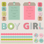 Scrapbook Baby Girl and Boy Set — Stock Vector