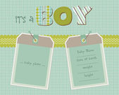 Baby Boy Arrival Card with Photo Frame in vector — Stock Vector