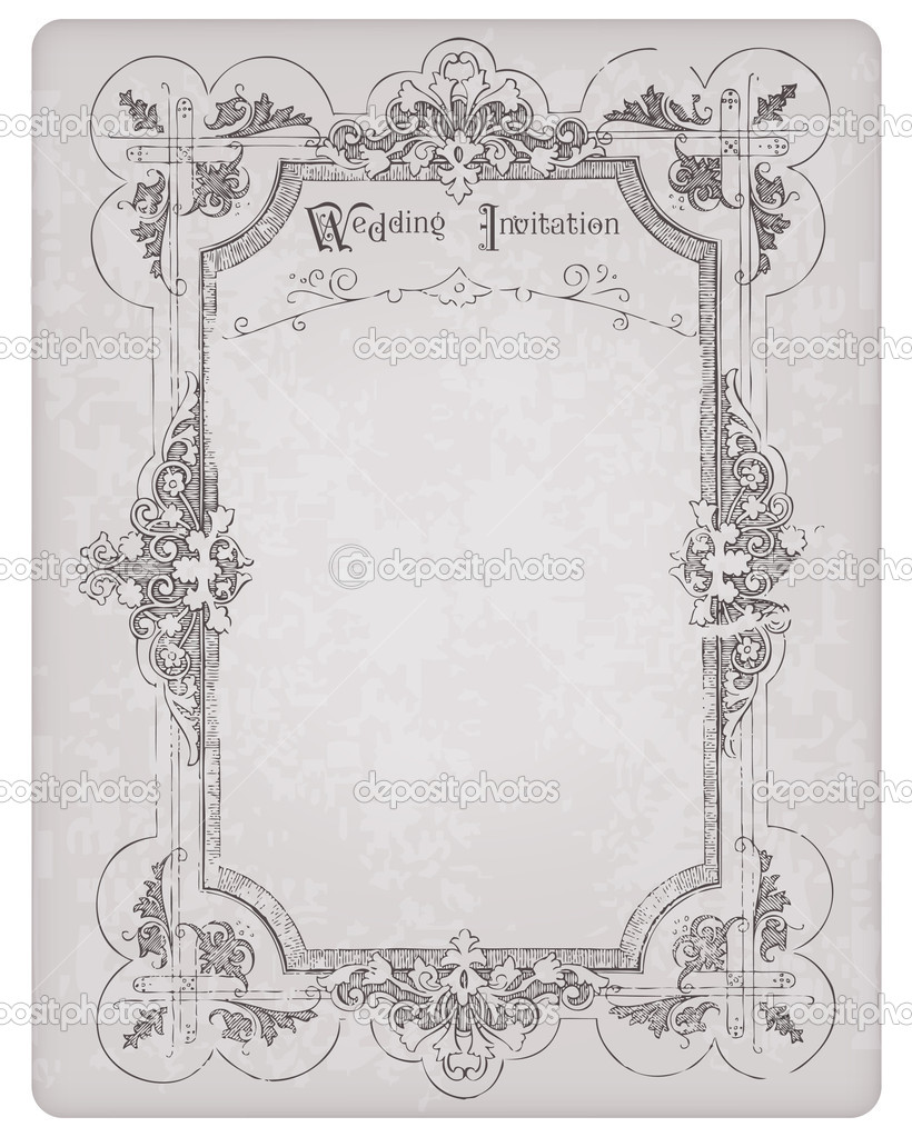 Retro Wedding Invitation postcard with beautiful frame - for design and scrapbook — Stock Vector #6070571