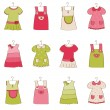 Stock Vector: Baby Girl Dress Collection