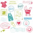 Royalty-Free Stock Vector Image: Baby Vector stamp collection in color