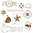 Sea elements - Vector rubber stamp collection — Stock Vector