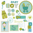 scrapbook baby shower boy set - design elements — Stock Vector