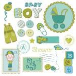 scrapbook bambino ragazzo set doccia - elementi di design — Vettoriale Stock
