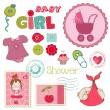 Vector de stock : Scrapbook Baby shower Girl Set - design elements