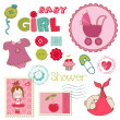 Stock Vector: Scrapbook Baby shower Girl Set - design elements
