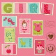Royalty-Free Stock Imagem Vetorial: Baby Girl Postage Stamps
