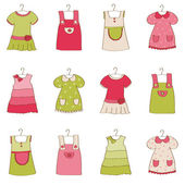 Baby Girl Dress Collection — Stock Vector