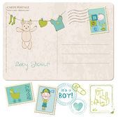Baby Shower Card with set of stamps — Stock Vector