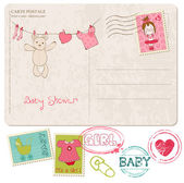 Baby Shower Card with set of stamps — Stok Vektör