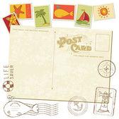 Carte postale invitation rétro avec des timbres de mer - pour la conception et de la ferraille — Vecteur