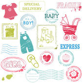 Baby Vector stamp collection in color — Stock Vector