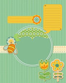 Baby Card with bee and flowers - for scrapbook and design — Stock Vector
