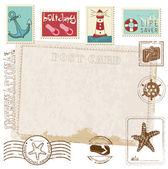 Retro Invitation postcard with SEA stamps - for design and scrap — Stock Vector