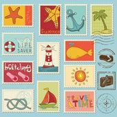 Elementos do mar - coleção de selos do vetor — Vetorial Stock