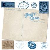 Antique carte postale en vectoriel avec timbres postaux — Vecteur