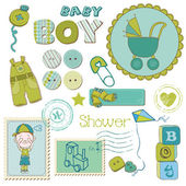 Scrapbook baby boy duschset - designelement — Stockvektor
