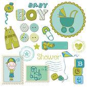 Scrapbook Baby shower Boy Set - design elements — Stock Vector