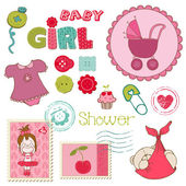 Scrapbook Baby shower Girl Set - design elements — Stock Vector