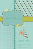 Baby Boy Arrival Card with Photo Frame and place for your text i — Stock Vector