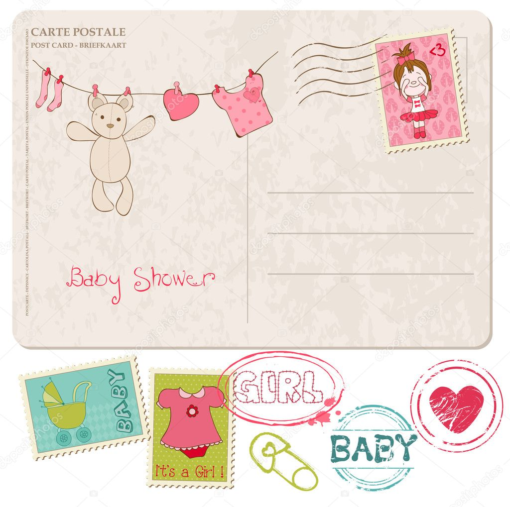 download baby shower card with set of stamps stock illustration