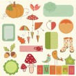 Autumn Cute Elements Set - for scrapbook, design, invitation, gr — Stock Vector