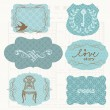 Vintage Design elements for scrapbook - Old tags and frames — Stock Vector #6565155