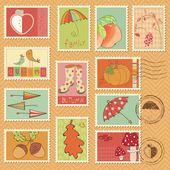 Vector autumn stamps - set of beautiful autumn-related stamps — Stock Vector