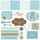 Elementi di design scrapbook - set di amore d'epoca — Vettoriale Stock