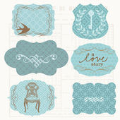 Vintage Design elements for scrapbook - Old tags and frames — Stock Vector