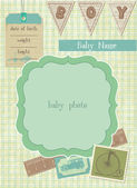 Baby Boy Arrival Card with Photo Frame and place for your text — Stock Vector