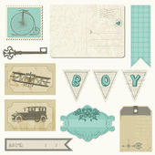 Scrapbook design elements - Vintage Boy Set — Stock Vector