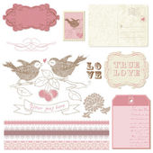 Scrapbook design elements - Birds in love — Stock Vector