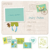 Baby Boy Birthday Postcard with set of stamps — Stock Vector