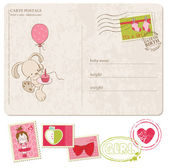 Baby Girl Greeting Postcard with set of stamps — Stock Vector