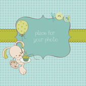 Baby Greeting Card with Photo Frame and place for your text — Stock Vector