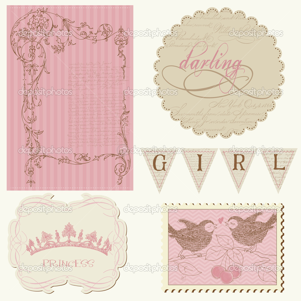 Scrapbook design elements - Beautiful Girl  Stock Vector #6564806
