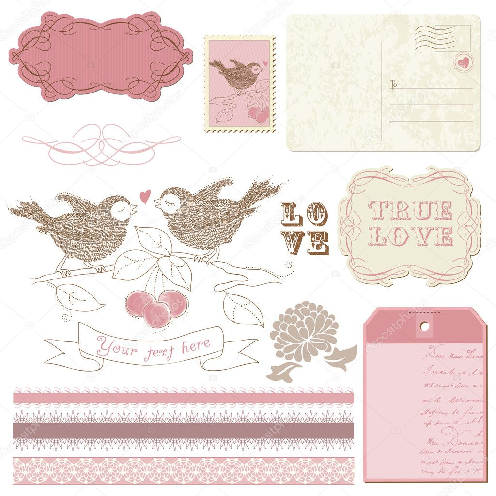 Scrapbook design elements - Birds in love  Stock Vector #6566665