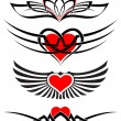 Royalty-Free Stock Vector Image: Love tattoo set vector hearts and scrolls