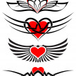 Love tattoo set vector hearts and scrolls - Stock Vector