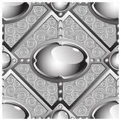 Stříbrný reliéf bar s šedý lesklý drahokamy — Stock vektor