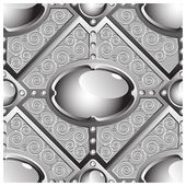 Silver emboss bar with grey glossy gems — Stock Vector