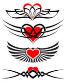 Love tattoo set vector hearts and scrolls — Stock Vector