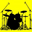 Stock Vector: Drums on a yellow background